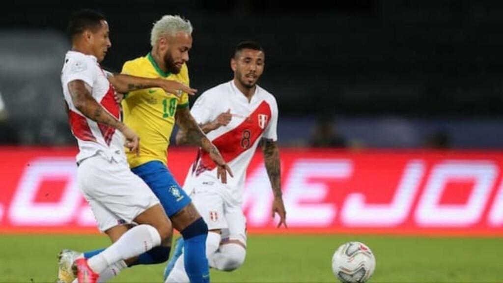 Neymar in action vs Peru in the Copa America