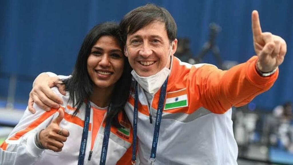Bhavani Devi and her coach