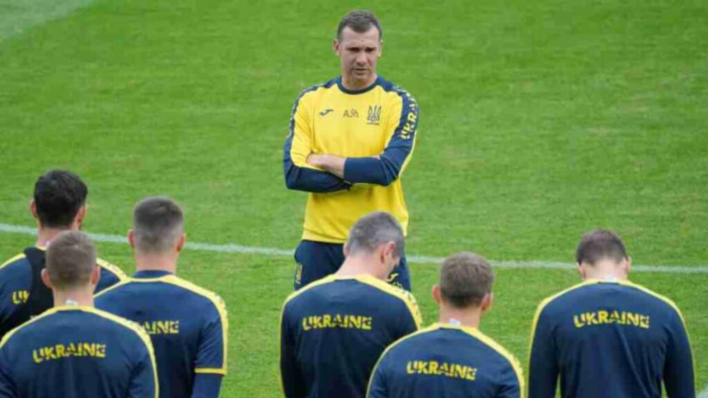 Ukraine head coach Andriy Shevchenko holds his team talk before their crunch tie against Austria