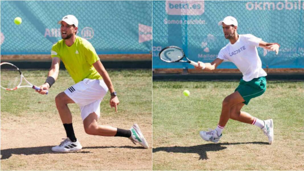 Dominic Thiem and Novak Djokovic