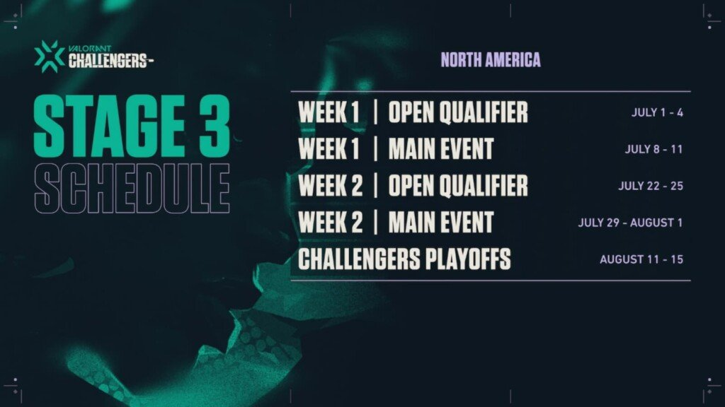 VCT Stage 3 Challengers Schedule