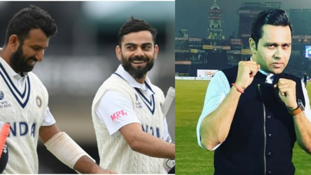 India's Cheteshwar Pujara, Virat Kohli and Aakash Chopra
