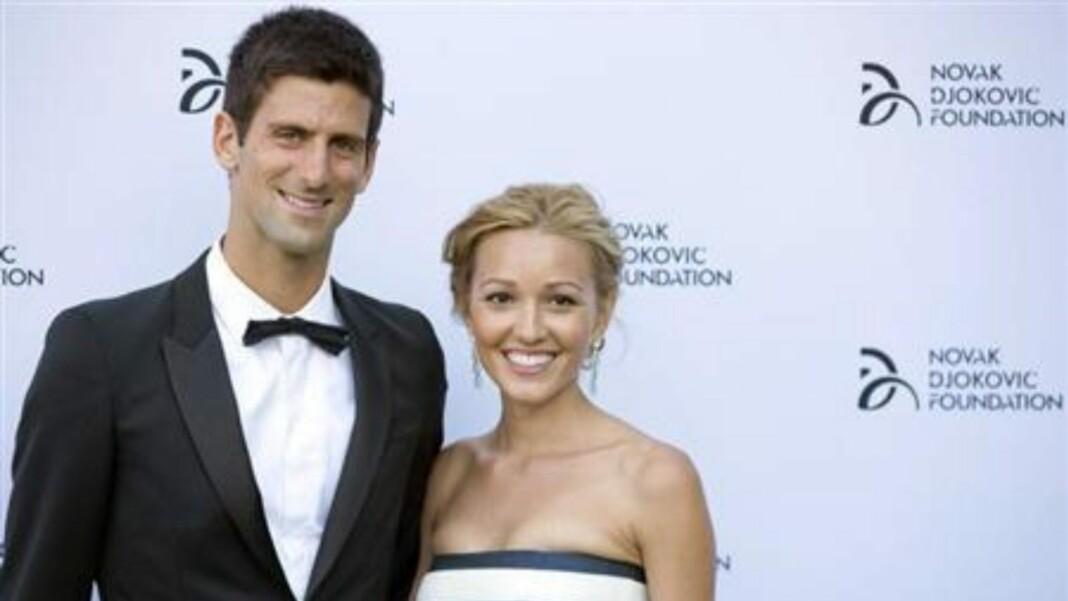 Novak Djokovic and his wife