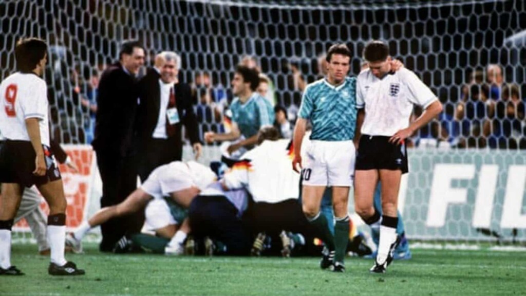 Lothar Matthaus's Germany beat Three Lions in the 1990 World Cup semi final