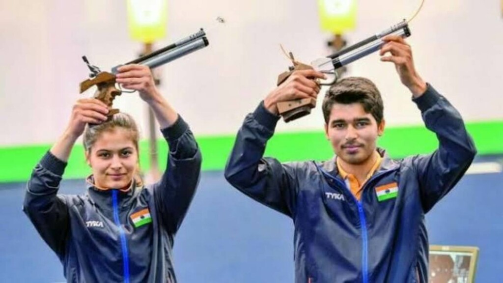 Manu Bhaker and Saurabh Chaudhary at the ISSF Shooting World Cup 2021