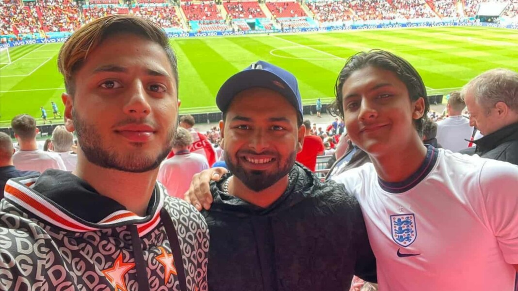 Rishabh Pant with his friends at the Wembley Stadium for Euro 2020