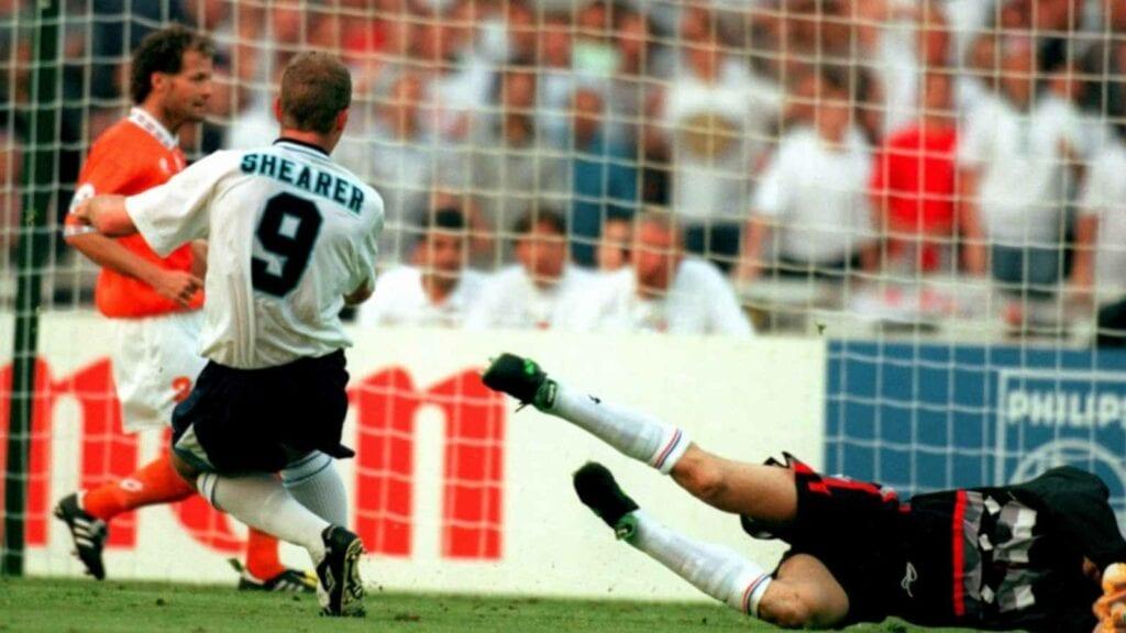 Alan Shearer scoring for England against Netherlands