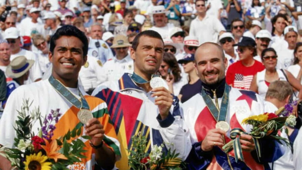 Bronze medallist Leander Paes at the 1996 Atlanta Games