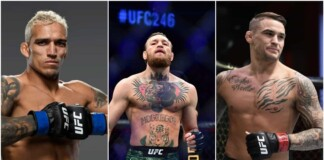 Charles Oliveira, Conor McGregor and Dustin Poirier