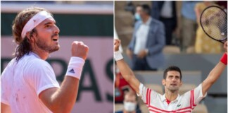 Stefanos Tsitsipas and Novak Djokovic