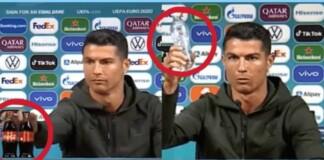 Cristiano Ronaldo chooses water ahead of coca cola