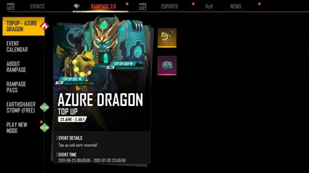 Free Fire Azure Dragon Top up