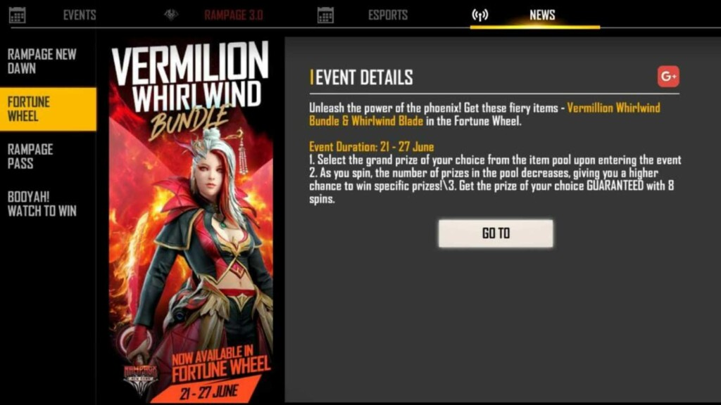 Free Fire Vermillion Whirlwind Bundle