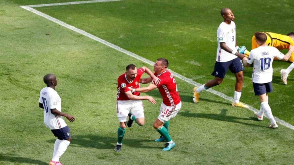 Fiola after scoring Hungary's goal