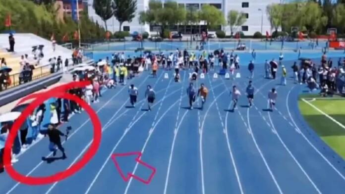 cameraman outruns sprinters