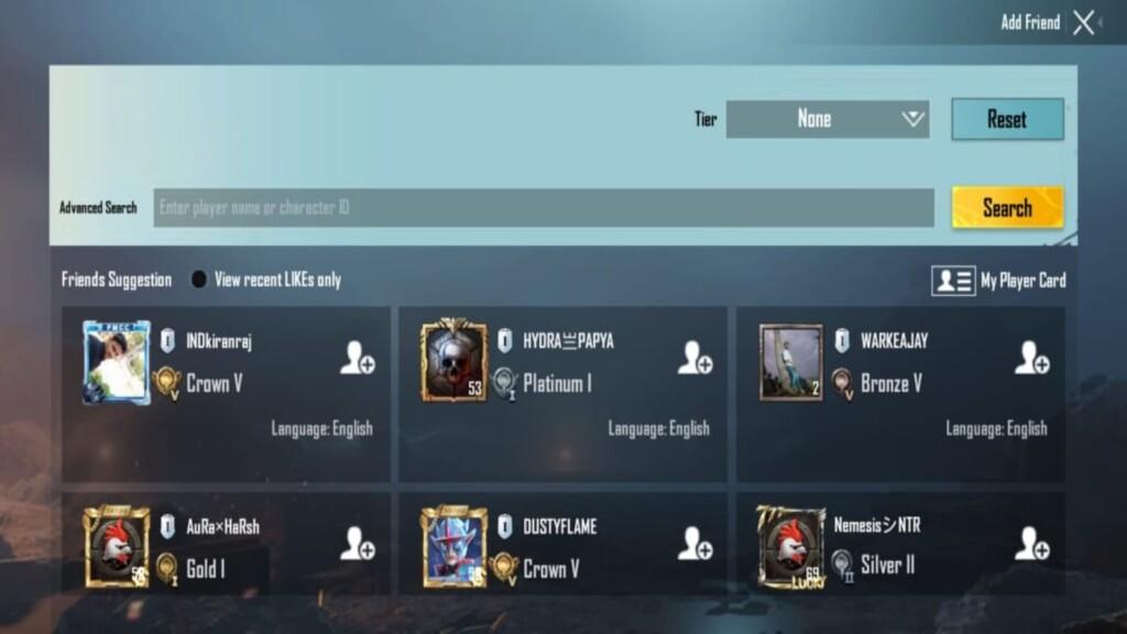 Add Friends in Battlegrounds Mobile India