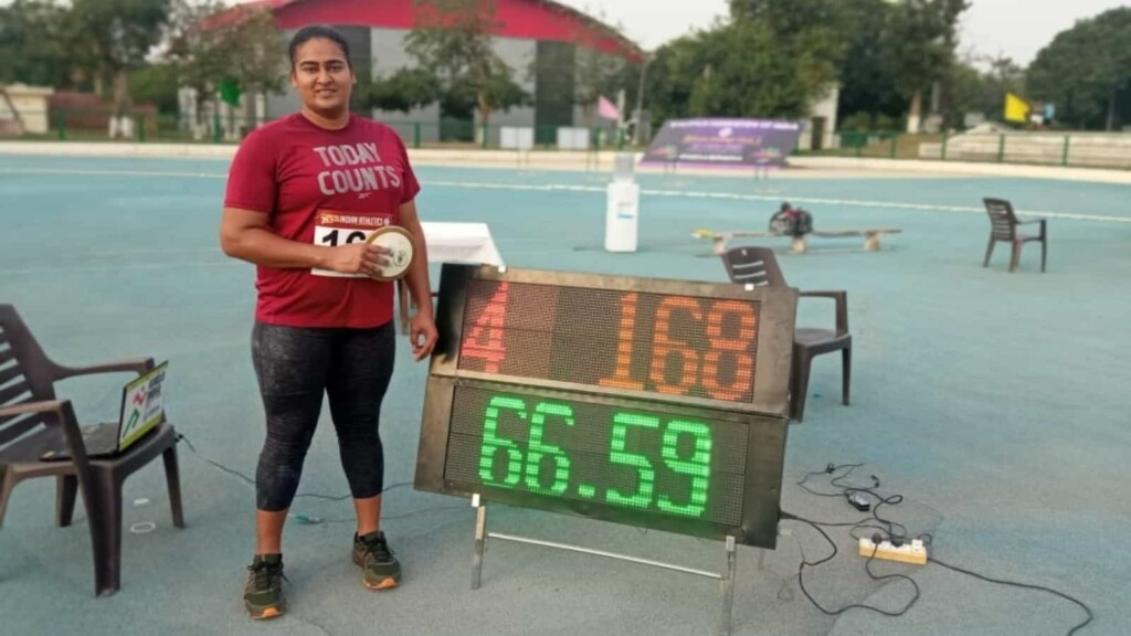 Kamalpreet Kaur at Indian Grand Prix 4. She is top medal prospect for India at Tokyo Olympics