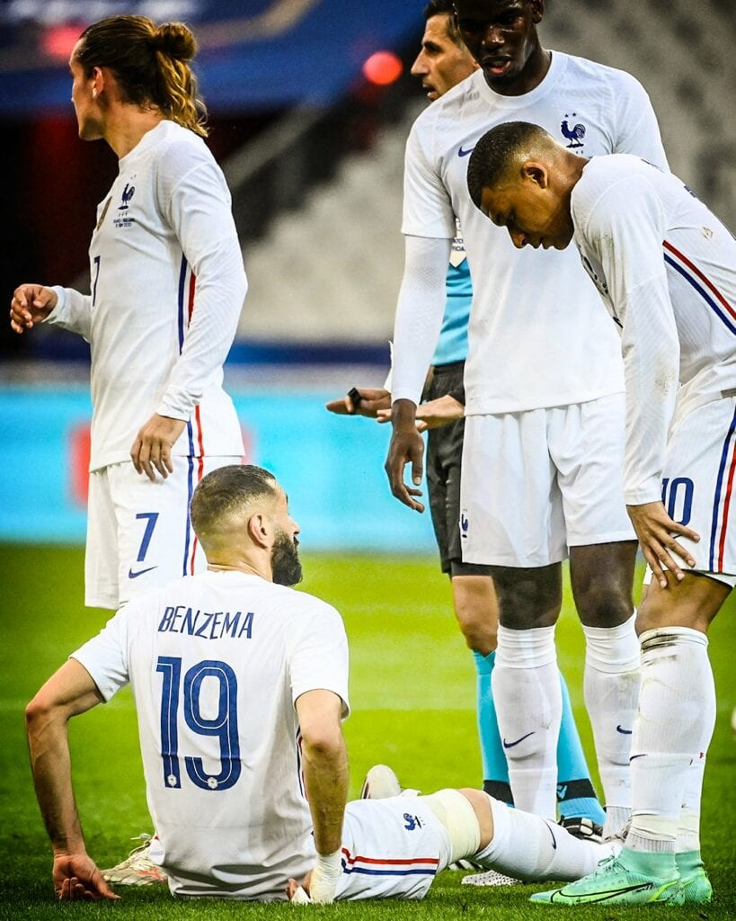Antoine Griezmann scores an acrobatic goal and Benzema was substituted off before half time