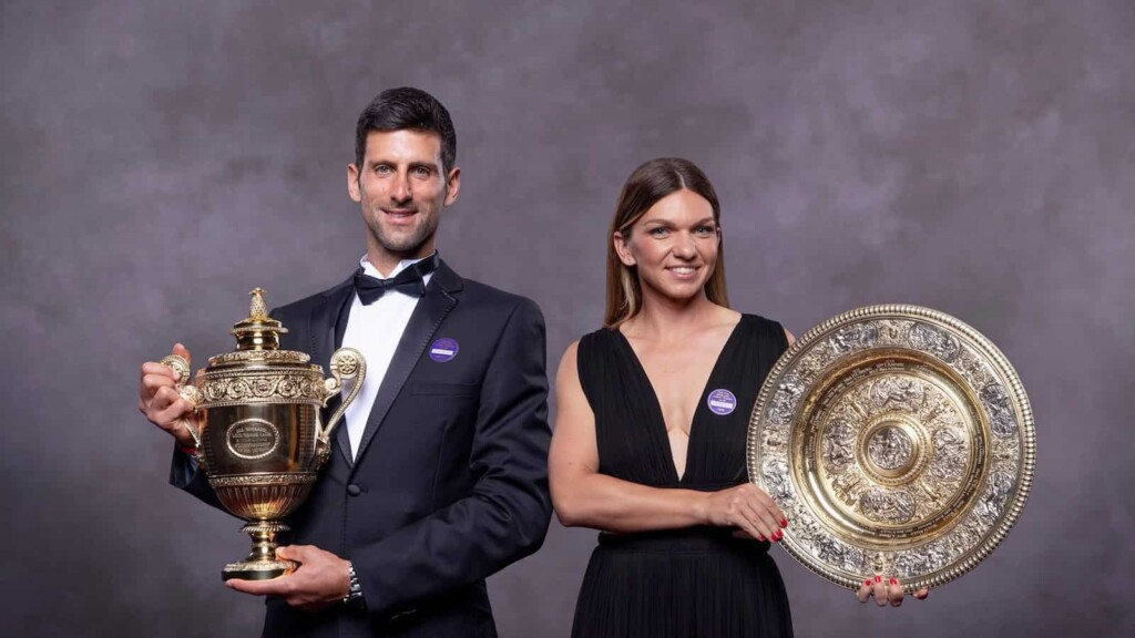 Novak Djokovic and Simona Halep with their respective Wimbledon 2019 Trophies