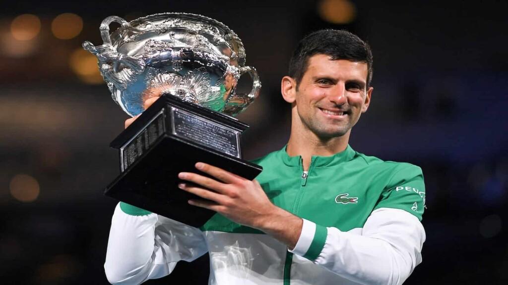 Novak Djokovic with his 2021 Australian Open trophy