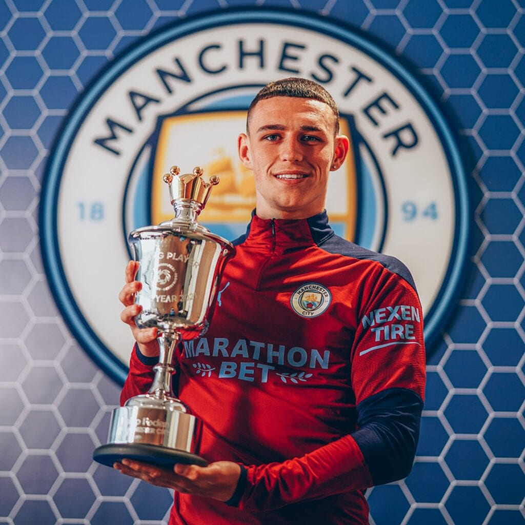 Phil Foden with the Young Player of the Season award