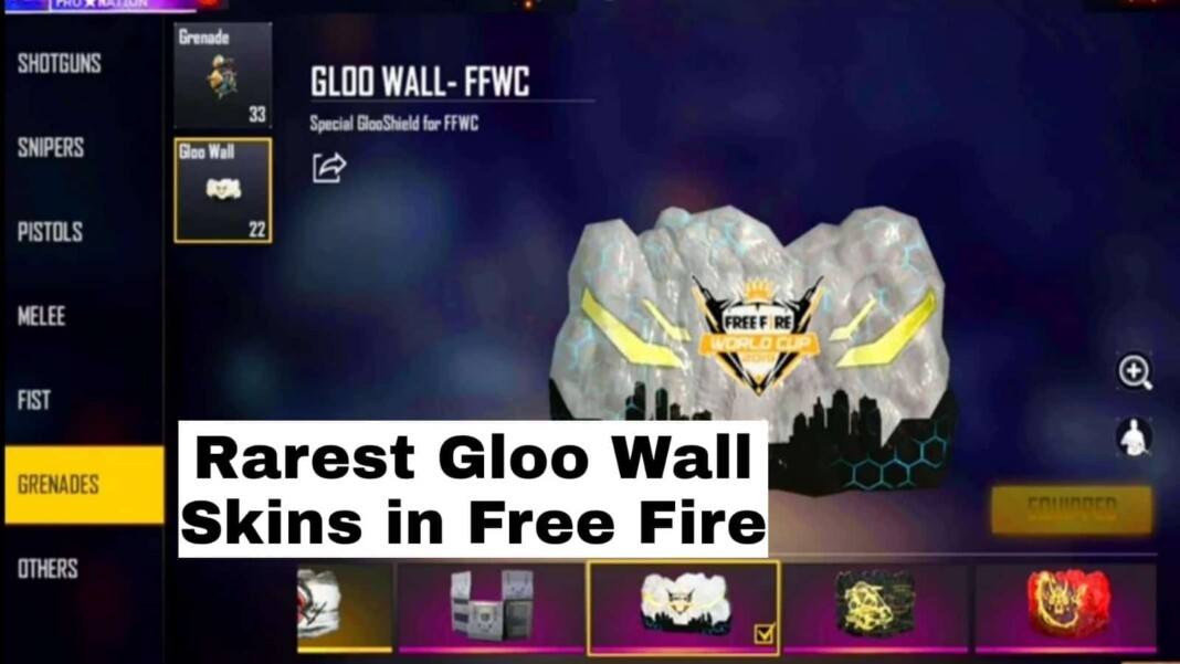 Rarest Gloo Wall skins in free fire