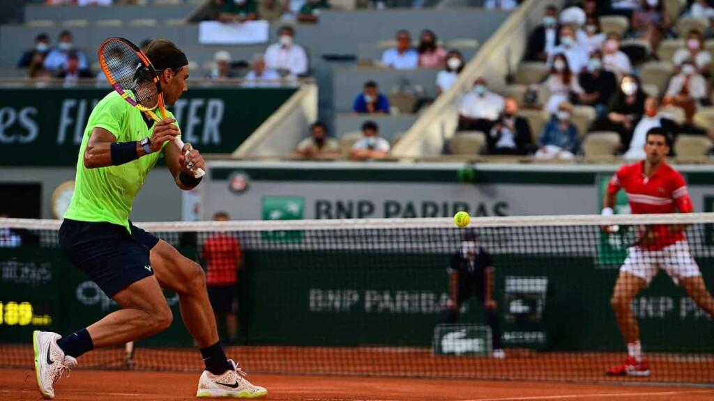Rafael Nadal and Novak Djokovic in action