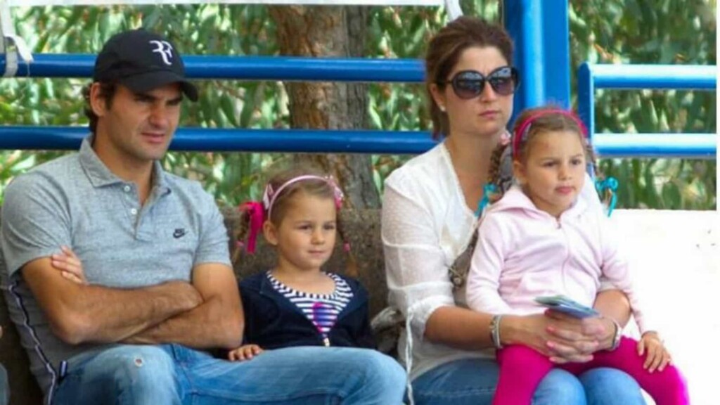 Roger Federer and Mirka with daughters