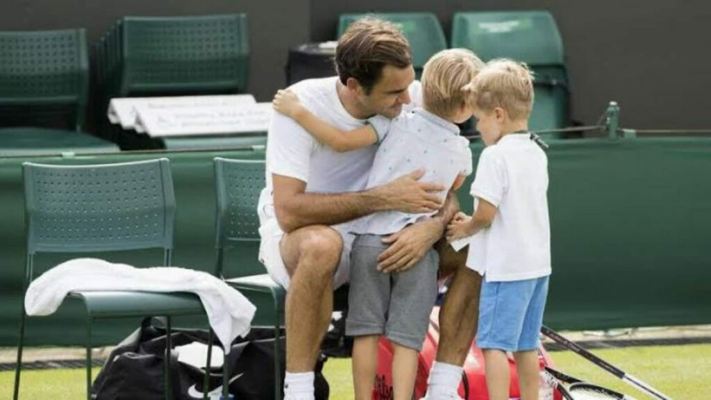 Roger Federer with his sons