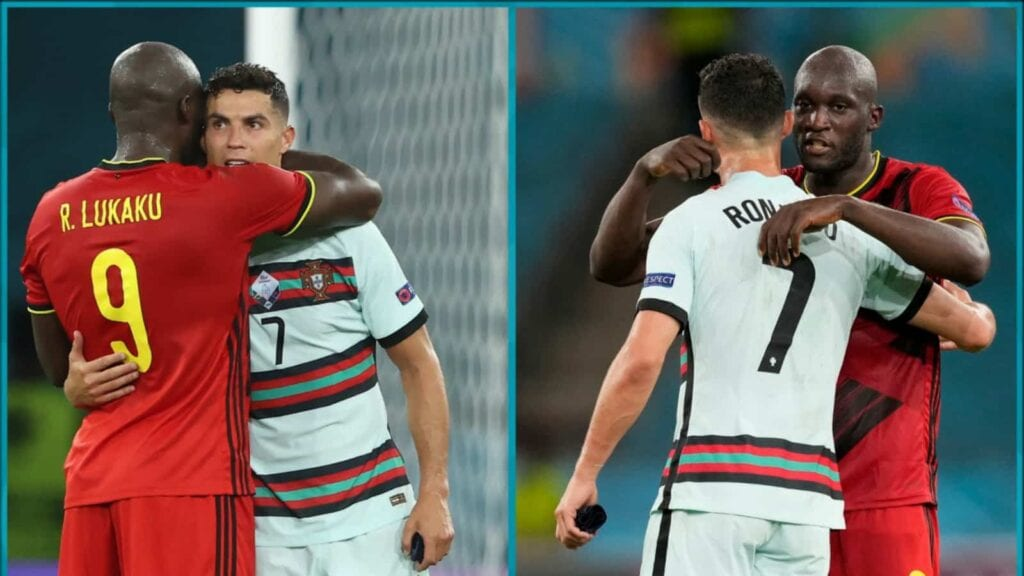 Romelu Lukaku and Cristiano Ronaldo after the end of the match