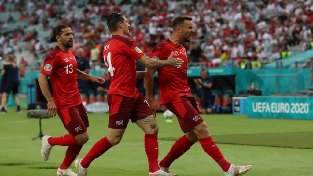Seferovic celebrates after scoring in the 6th minute