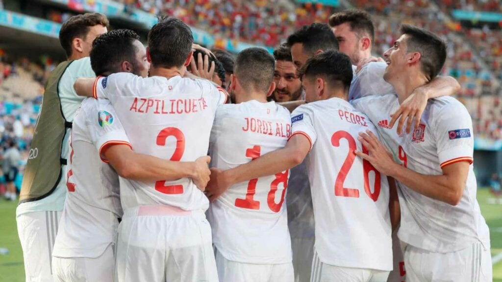 Spain celebrate their goal
