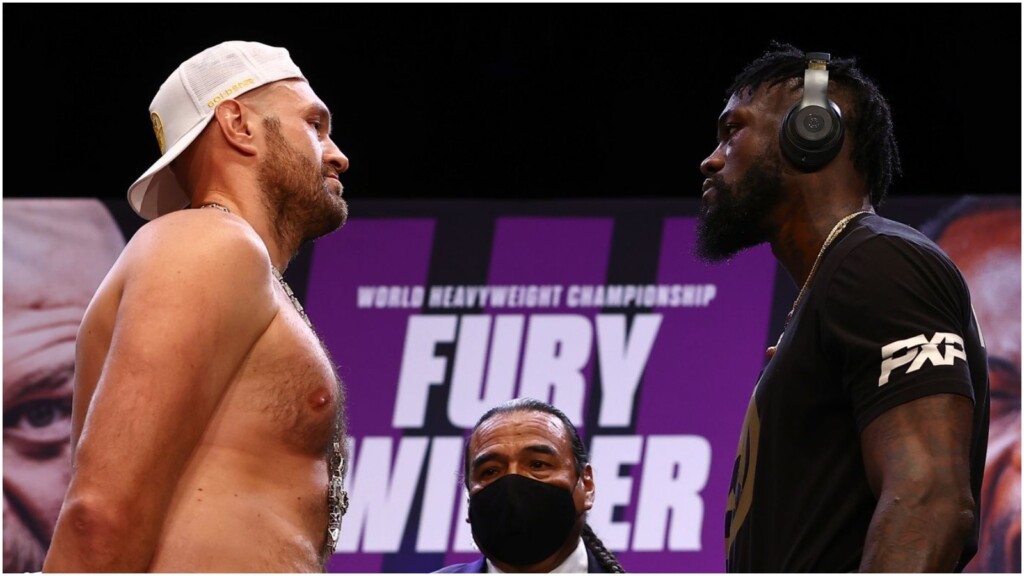 Tyson Fury and Deontay Wilder at their pre-fight press conference ahead of their trilogy fight