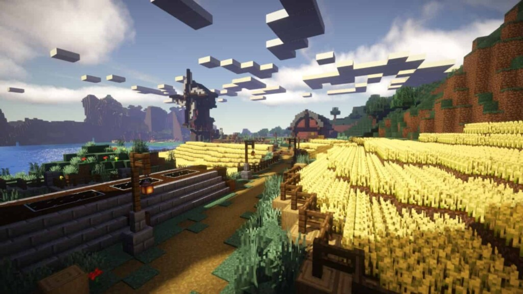 Wheat farm in Minecraft