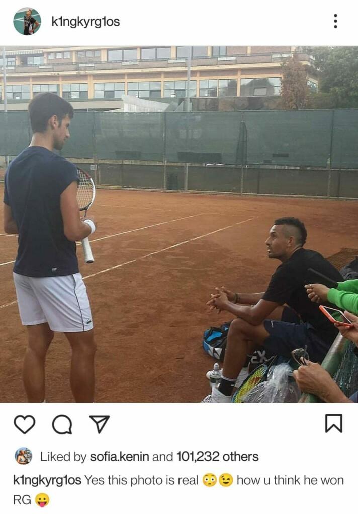 Nick Kyrgios and Novak Djokovic