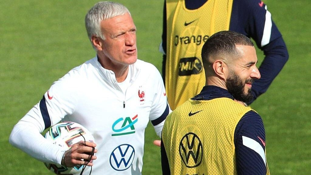 Deschamps at France training camp at Clairefontaine