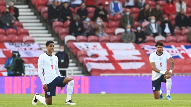It was the first time that the English players have taken the knee in front of the home crowd