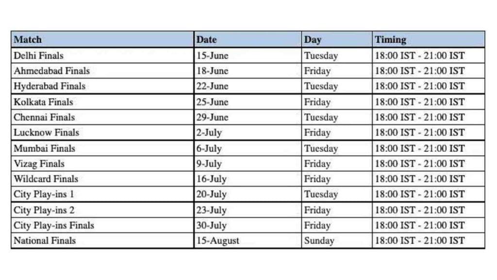 FFCO 2021 schedule