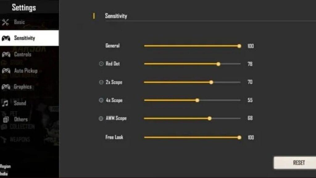 best sesitivity settings in free fire f