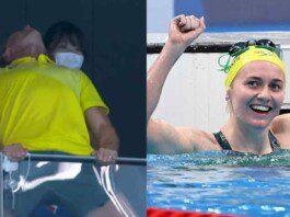 Ariarne Titmus' coach goes berserk in celebration after the Australian swimmer stuns Katie Ledecky in 400m freestyle final