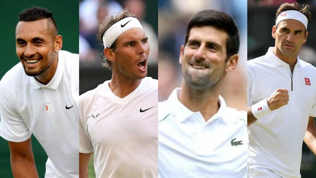 Nick Kyrgios, Rafael Nadal, Novak Djokovic and Roger Federer