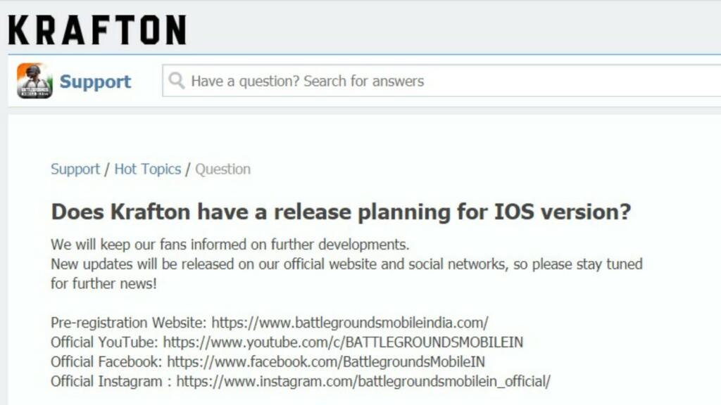 BGMI iOS release date