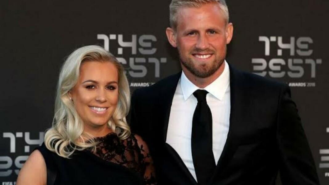 Kasper Schmeichel with his wife