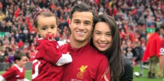 Philippe Coutinho with his wife Aine and daughter