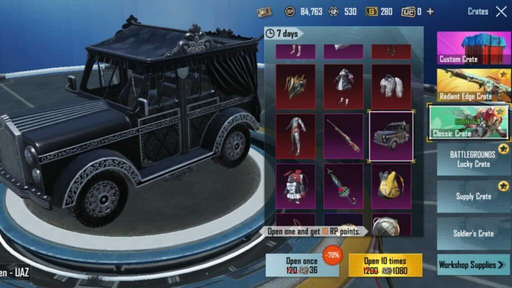 Top 5 vehicle skins in BGMI