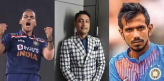 Rahul Chahar, Deep Dasgupta and Yuzvendra Chahal