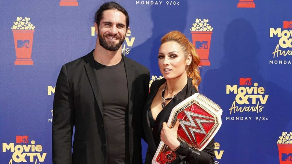 Seth Rollins with his wife