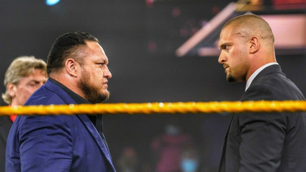Samoa Joe teasing a match against NXT Champion