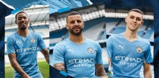 Manchester City unveil their new home kit in association with Puma for 2021-22 season in tribute to Sergio Aguero's 93:20 goal