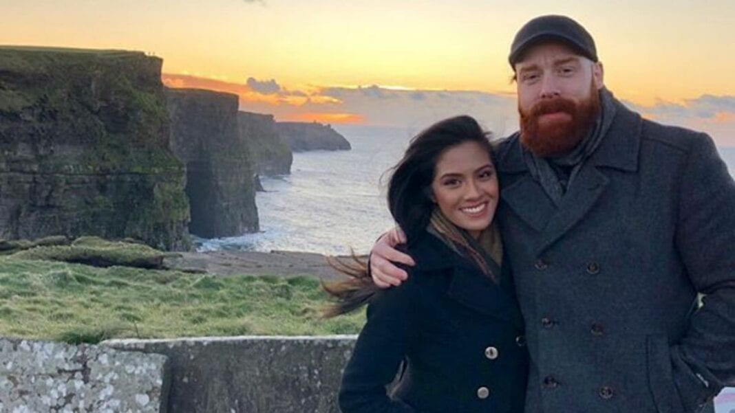WWE superstar Sheamus with his fiancee Isabella Revilla